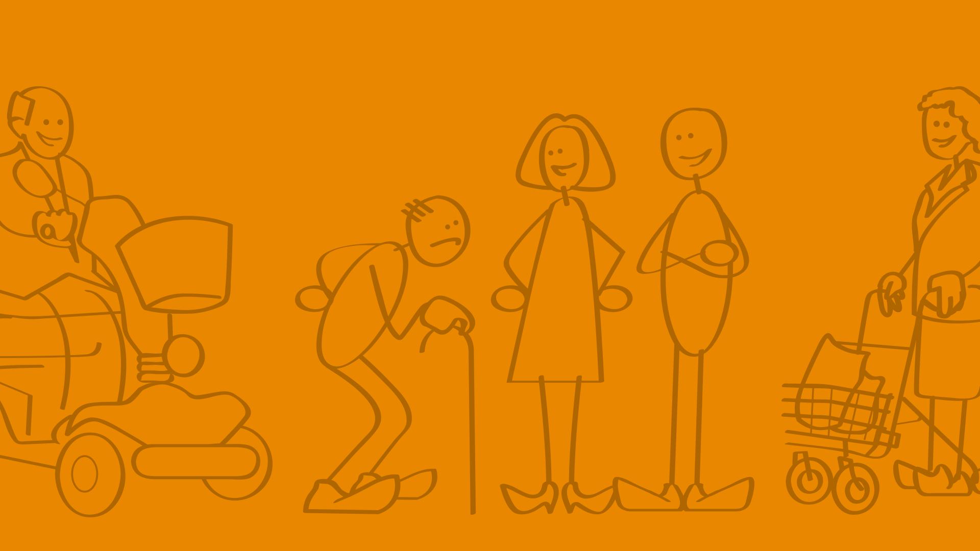Illustratie blije ouderen