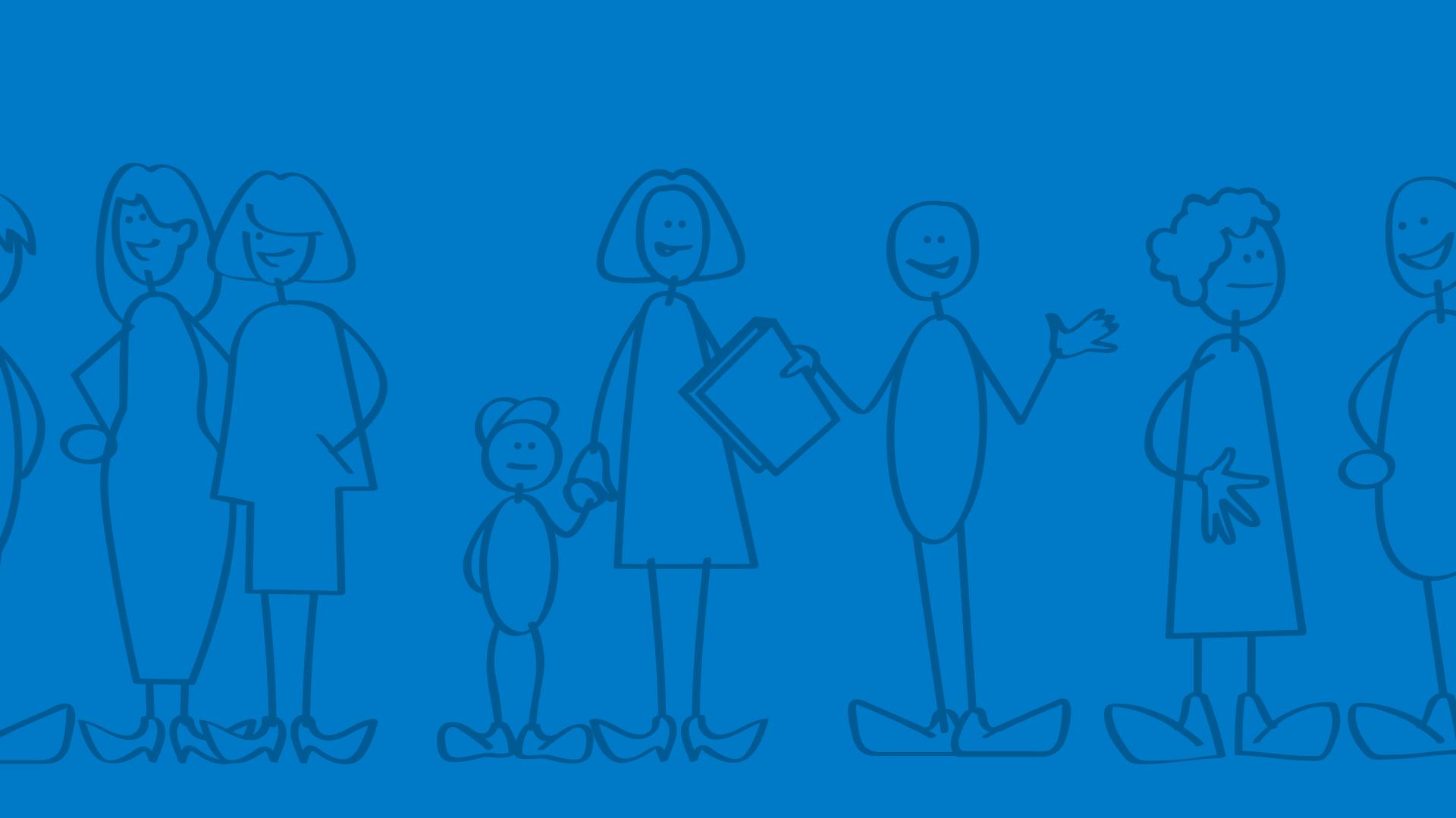 Illustratie blije mensen met leraar