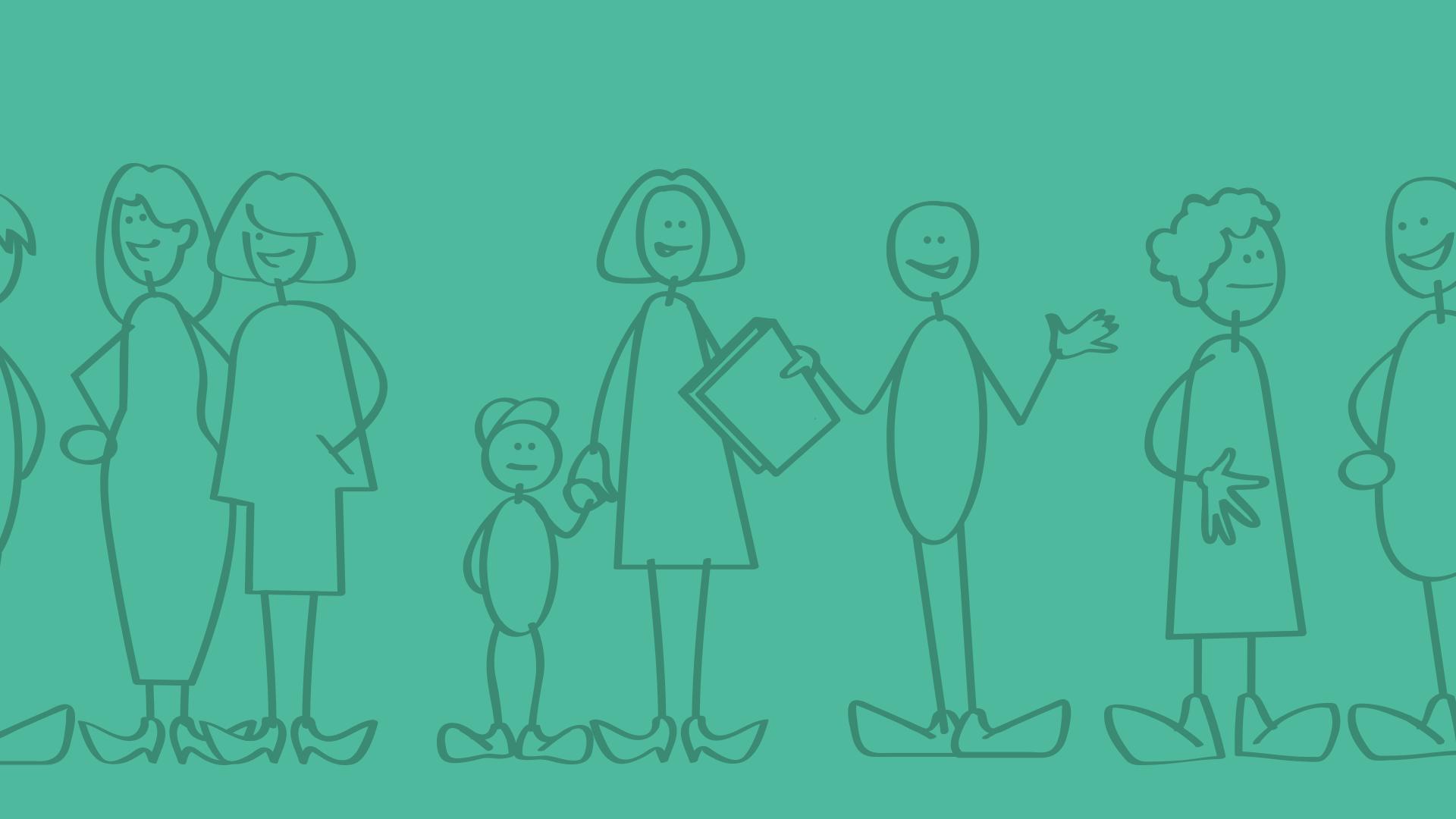 Illustratie blije mensen met groene achtergrond