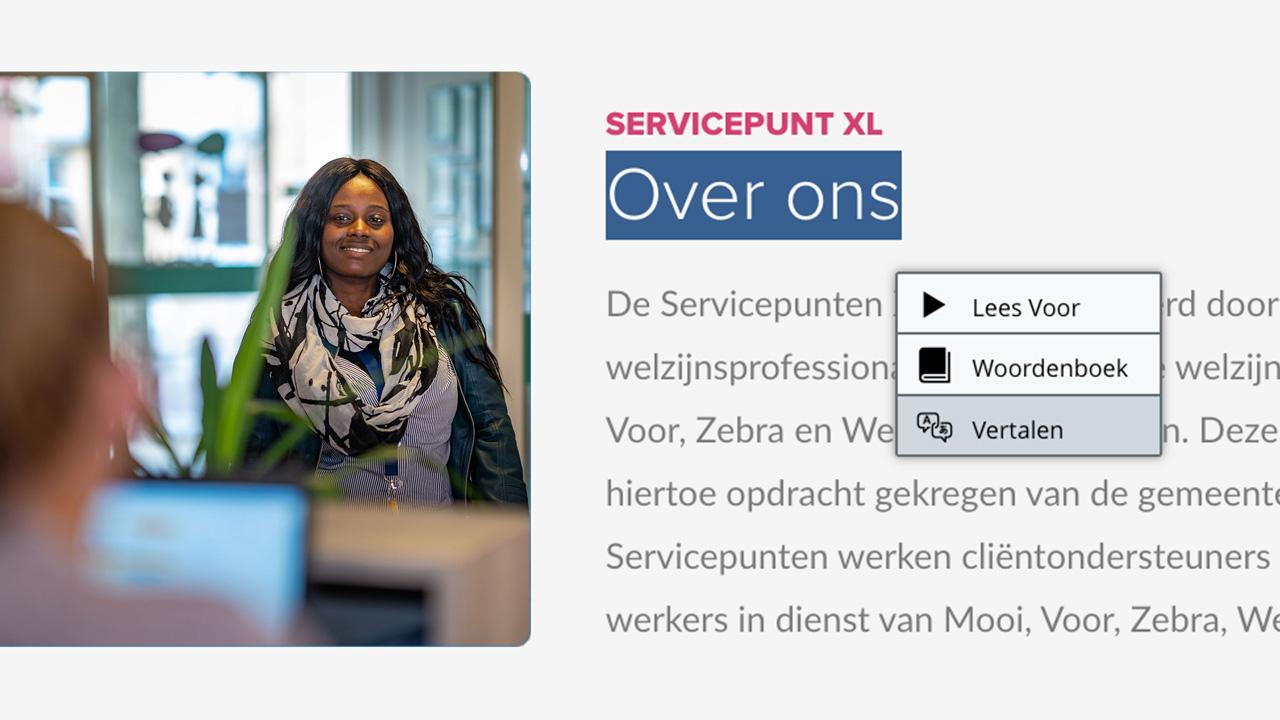 Vertaalfunctie op de website ServicepuntXL