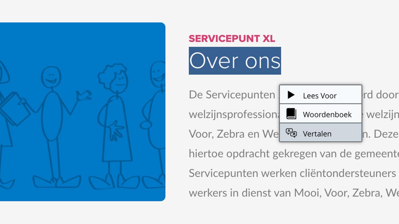 Voorbeeld vertaalfunctie website ServicepuntXL